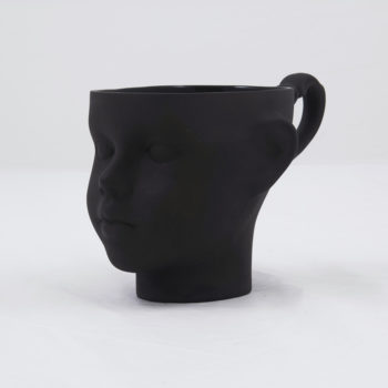 cups, porcelain_and_ceramics, interior-design, DOLL HEAD CUP - WHITE WITH PLATINUM - dollhead black front 350x350