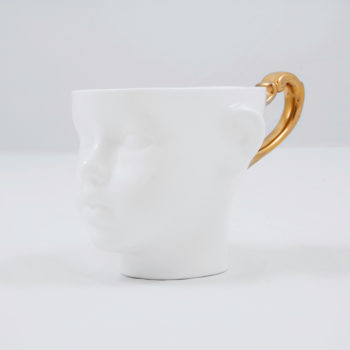 cups, porcelain_and_ceramics, interior-design, DOLL HEAD CUP - WHITE WITH PLATINUM - dollhead gold front 350x350