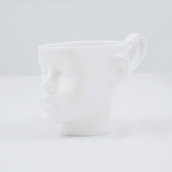 cups, porcelain_and_ceramics, interior-design, DOLL HEAD CUP - WHITE WITH PLATINUM - dollhead white front 350x350