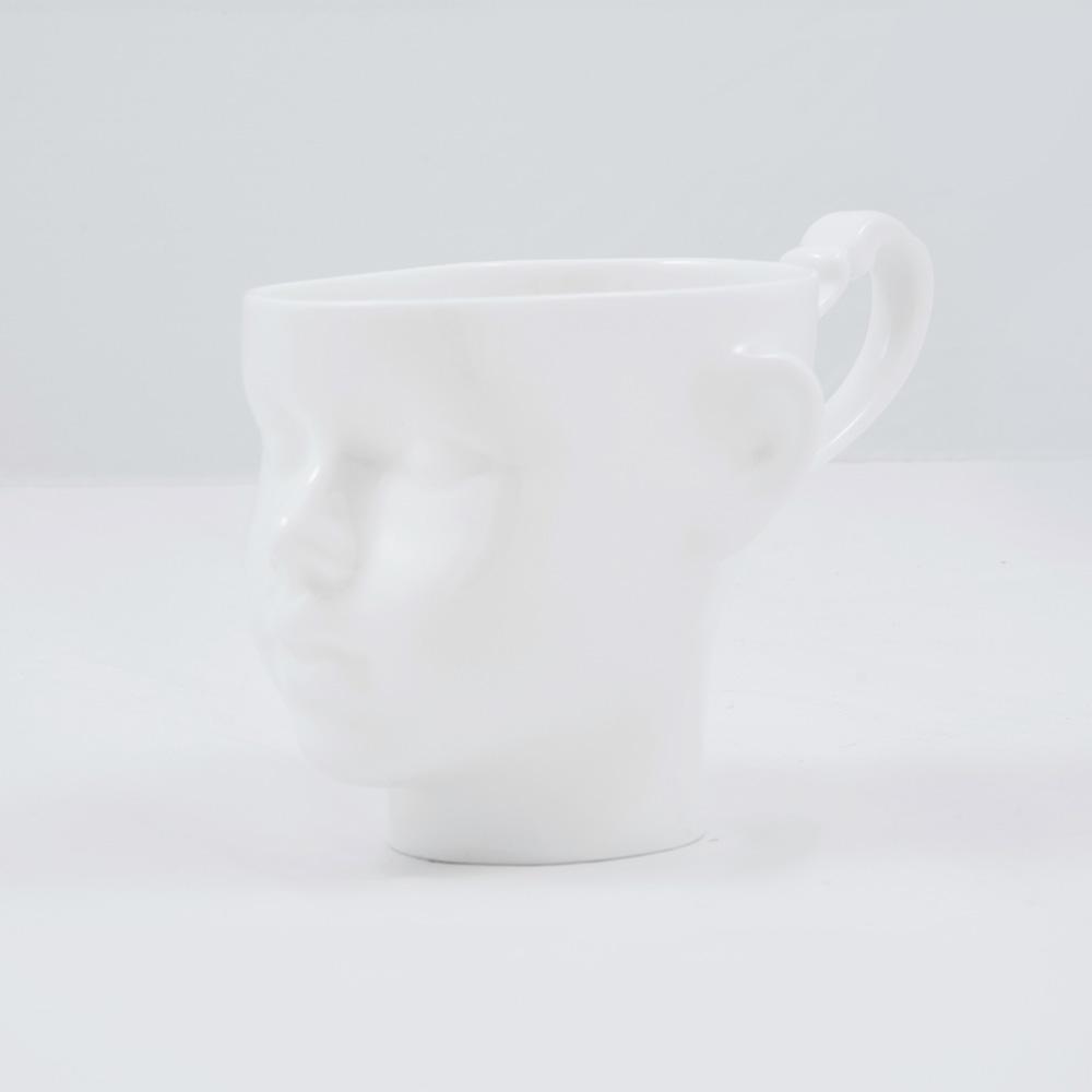 tassen, porzellan_und_keramik, wohnen, TASSE DOLL HEAD WEISS MIT GOLD - dollhead white front