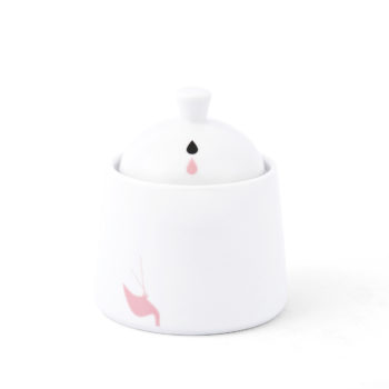 , SUGAR BOWL WITH FLAMINGOS - KRISTOFF FLAMING Opty cukiernica 350x350