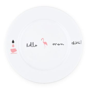 , PLATE WITH FLAMINGOS - KRISTOFF FLAMING Opty talerz 18 27cm 350x350