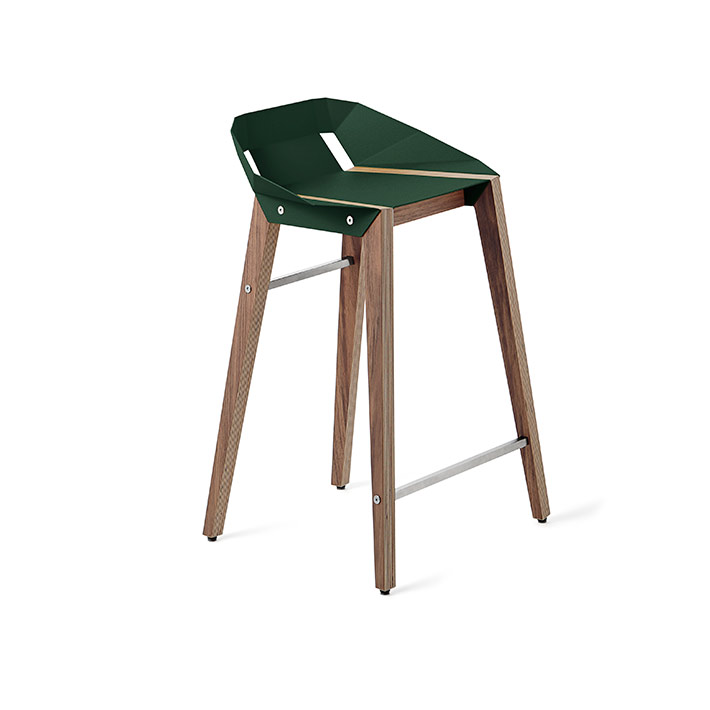 wohnen, mobel, hocker, greenery, DIAGO KÜCHENHOCKER WALNUSS - stool diago basic 62 walnut dark green fs lowres