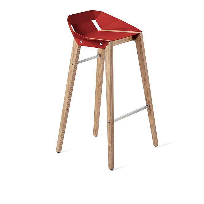 wohnen, mobel, hocker, DIAGO BARHOCKER EICHE - stool diago basic 75 oak coral red fs lowres