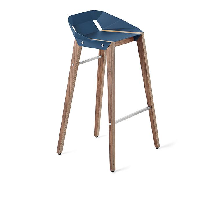 wohnen, mobel, hocker, DIAGO BARHOCKER WALNUSS - stool diago basic 75 walnut navy blue fs lowres
