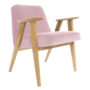, 366 EASY CHAIR VELVET - 366 Concept   366 armchair   Velvet 12 Powder Pink   Oak 90x90