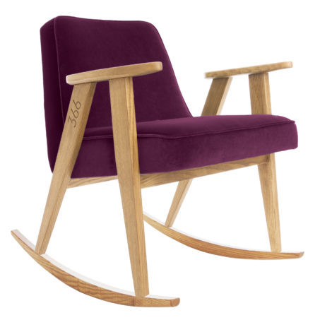 , 366 ROCKING CHAIR VELVET - 366 Concept   366 rocking chair   Velvet 14 Aubergine   Oak 470x470