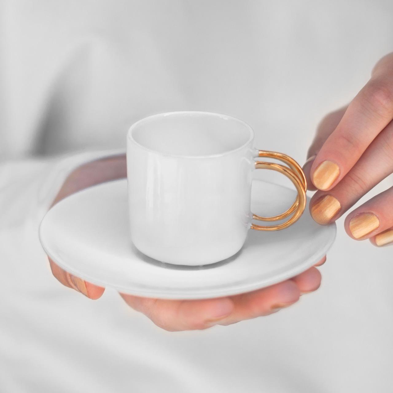 tassen, porzellan_und_keramik, wohnen, TASSE DOLL HEAD WEISS MIT GOLD - espresso white with gold
