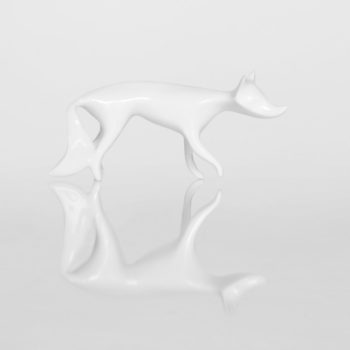 porcelain_and_ceramics, interior-design, figures, WHITE FOX FIGURINE - lisek bialy1 350x350