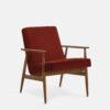 , LOUNGE SESSEL FOX | VELVET - 366 Concept Fox Armchair W03 Velvet Red Brick 100x100