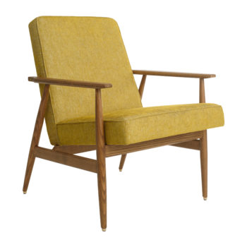 sessel, mobel, wohnen, fussbaenke, FUßBANK FOX | TWEED - Fox Lounge Chair LOFT Mustard Dark Oak1 350x350