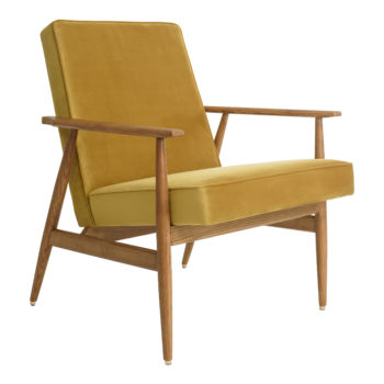 Fox Lounge Chair VELVET Mustard Dark Oak