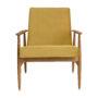 , LOUNGE SESSEL FOX | VELVET - Fox Lounge Chair VELVET Mustard Dark Oak6 90x90