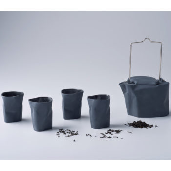 pots, porcelain_and_ceramics, interior-design, BENT TEA SET | DARK GREY - zestaw gnieciony ciemnoszary 350x350