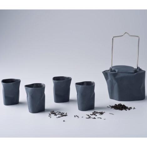 , TEESET BENT | DUNKELGRAU - zestaw gnieciony ciemnoszary 470x470