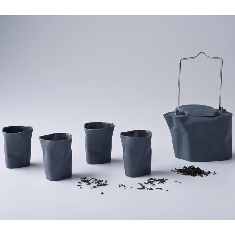 pots, porcelain_and_ceramics, interior-design, BENT TEA SET | DARK GREY - zestaw gnieciony ciemnoszary