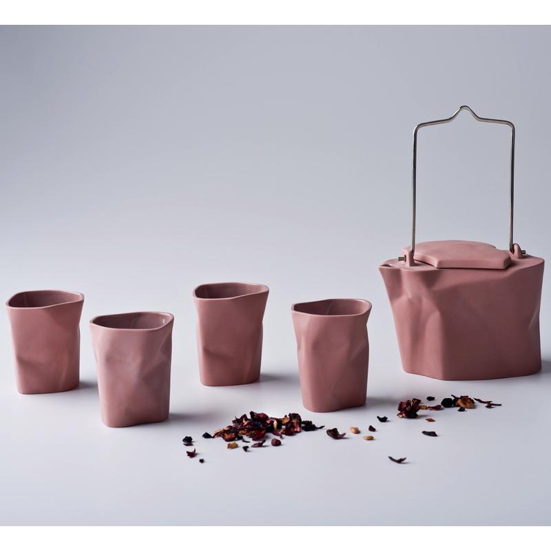 pots, porcelain_and_ceramics, interior-design, BENT TEA SET | ROSA - zestaw gnieciony różowy