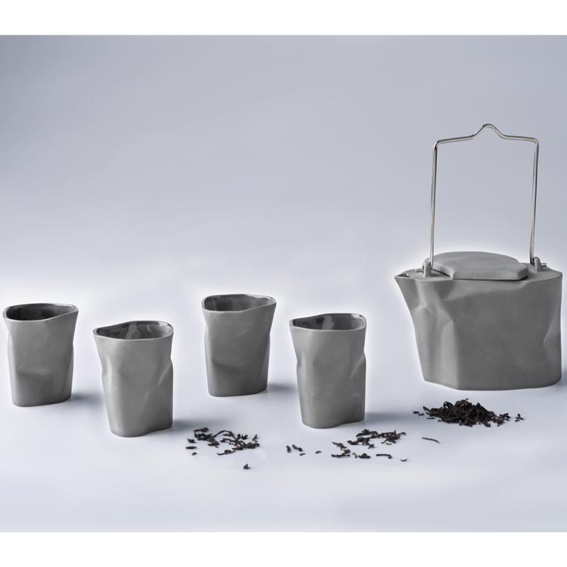 pots, porcelain_and_ceramics, interior-design, BENT TEA SET | LIGHT GREY - zestaw gnieciony szary