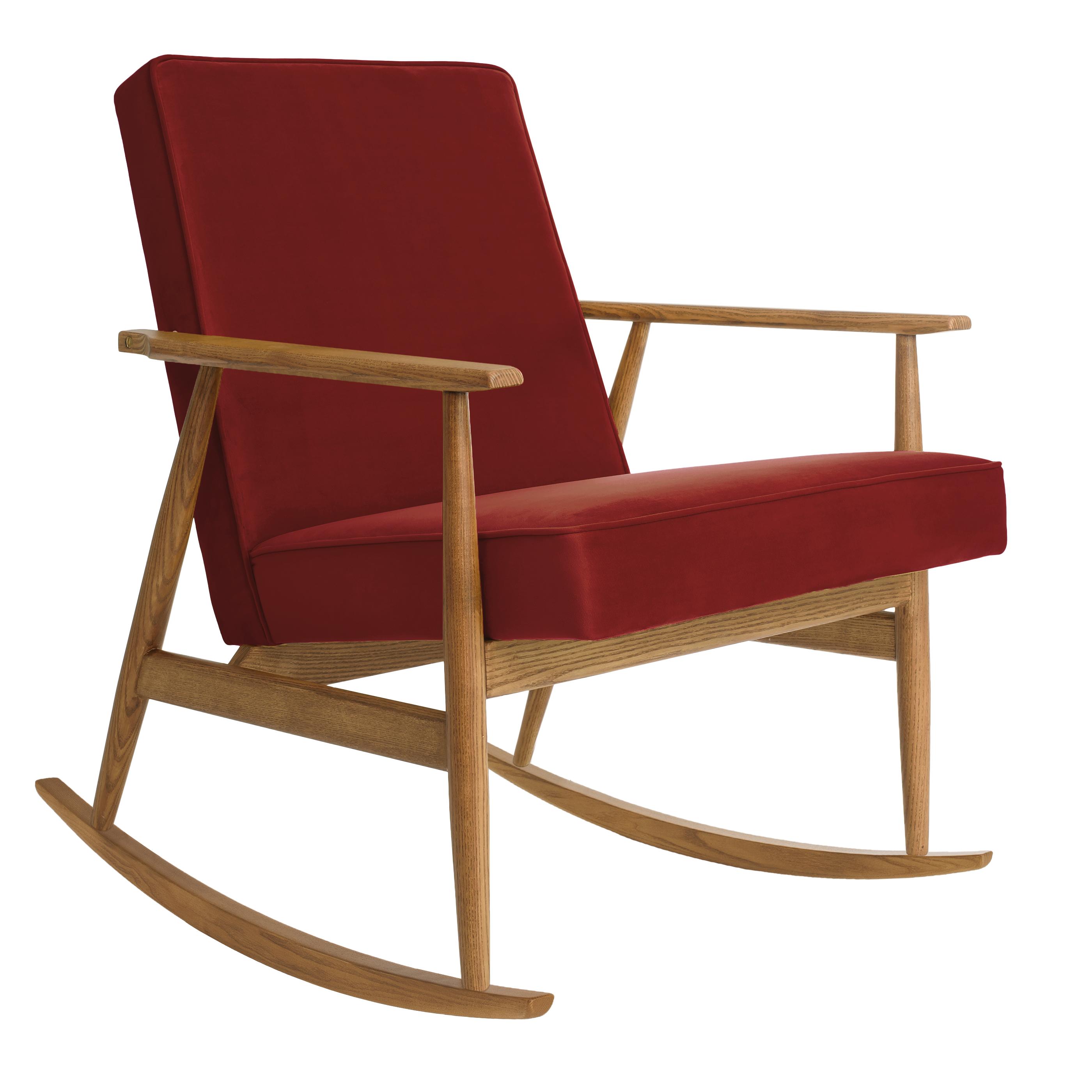 Fox Rocking Chair SHINE VELVET Merlot Dark Oak