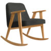 sessel, mobel, wohnen, schaukelstuehle, SCHAUKELSTUHL 366 WOOL - 366 concept 366 rocking chair oak 02 wool grey black 100x100