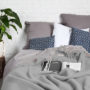 , WOOL BLANKET YETI LIGHT GREY - YETI jasny szary3 90x90