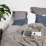 , WOOL BLANKET YETI EARTH GREY - YETI szary ziemisty3 90x90