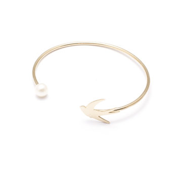 jewellery, braclets, BRACELET WITH A PEARL | PLATED WITH GOLD - 16a 350x350
