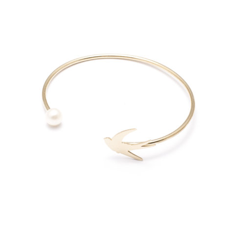 jewellery, braclets, BRACELET WITH A PEARL | PLATED WITH GOLD - 16a 470x470