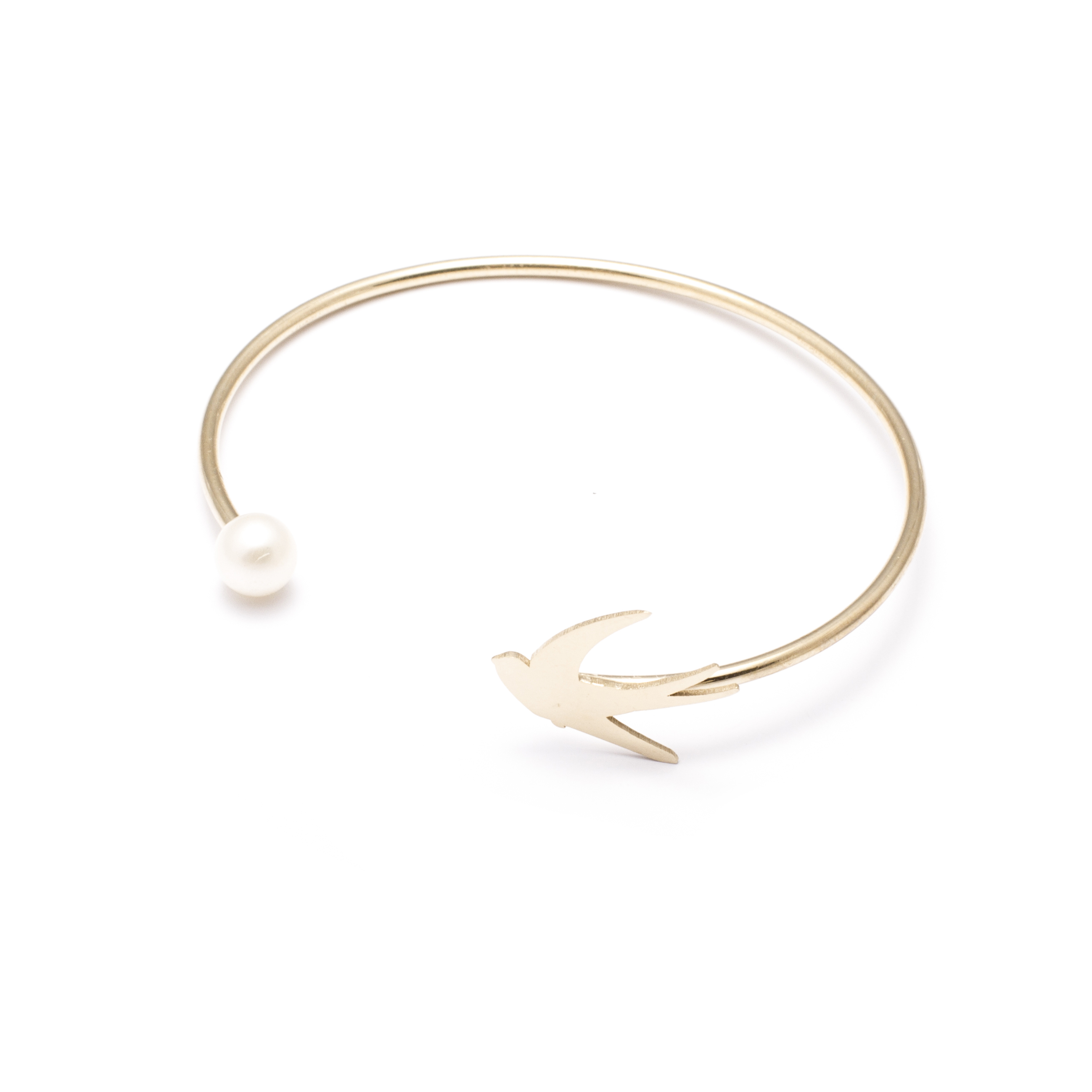 jewellery, braclets, BRACELET WITH A PEARL | PLATED WITH GOLD - 16a