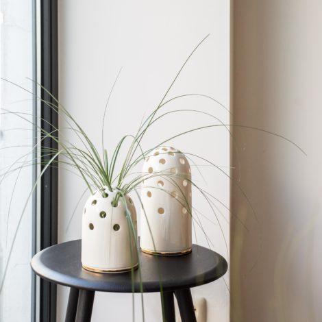 vasen, porzellan_und_keramik, wohnen, GROßE VASE FLY'S EYE | WEIß MIT GOLDENEM RAND - 06 470x470