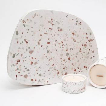 home-accessories, interior-design, holders-and-trays, ASYMMETRICAL TRAY GREY TERRAZZO S - terrazzo set 350x350