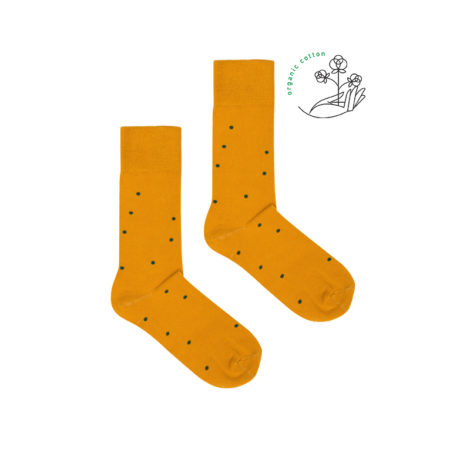 bekleidung-en, organic-socks, clothes-accessories, ORGANIC COTTON SOCKS MUSTARD YELLOW WITH DOTS - mustard dots organic  470x470