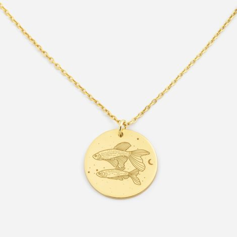 jewellery, pendants, NECKLACE MY ZODIAC PISCES PLATED WITH GOLD - anker ryby zl zbl 470x470