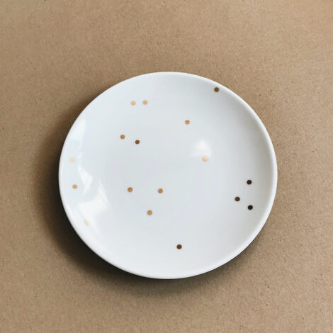 porzellan_und_keramik, wohnen, teller, KLEINER TELLER GOLDEN DOTS - talerz zlote kropki 17cm 470x470