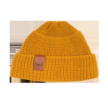 bekleidung, sale, mutzen, accessoires-sale, accessoires-bekleidung, KURZE MÜTZE SENFGELB - hat short thick knitted cotton mustard2012km 5906742648645