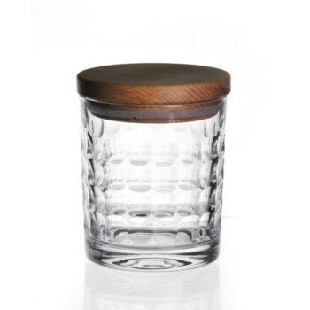 interior-design, glass, CRYSTAL CONTAINER WITH WOODEN LID 01 - pojemnik krysztalowy must have z drewnianym deklem 11841 350x350