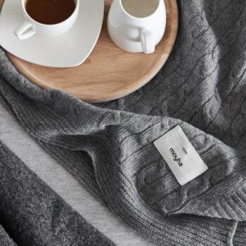 , DECKE WARM PLEAT GRAU - 5060 moyha soft wool grey blanket 2 350x350