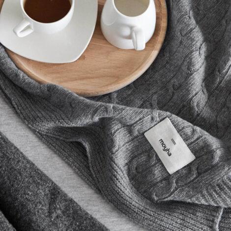 , DECKE SOFT WOOL GRAU - 5060 moyha soft wool grey blanket 2 470x470