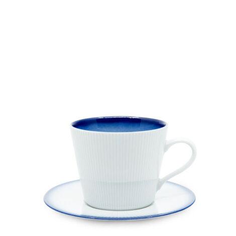 cups, porcelain_and_ceramics, interior-design, LARGE CUP WITH SAUCER COBALT BLUE - filizanka 400ml duza kobalt reliefowe paski 470x470